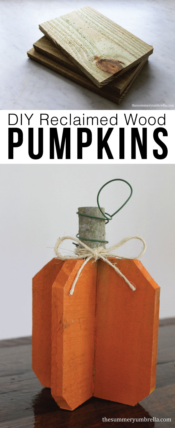 Create your own DIY reclaimed wood pumpkins with just a few simple materials. Let me show you how now!