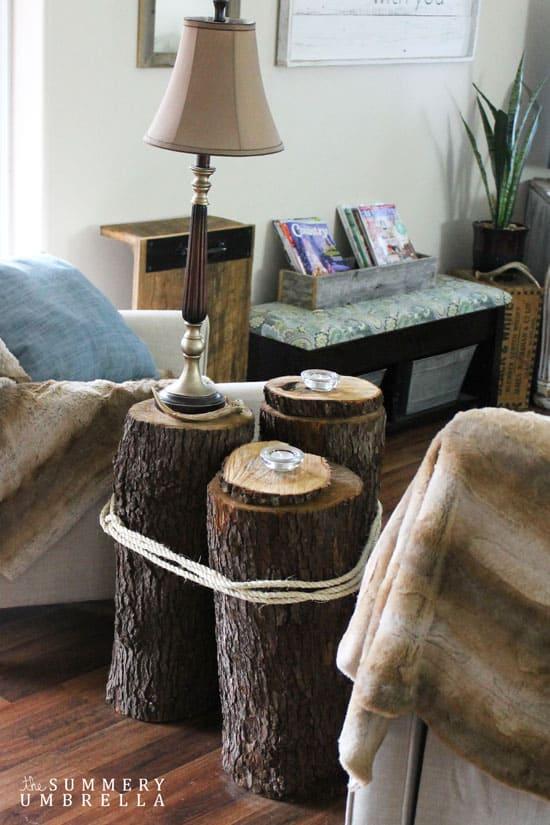 diy tree stump table the summery umbrella. Black Bedroom Furniture Sets. Home Design Ideas