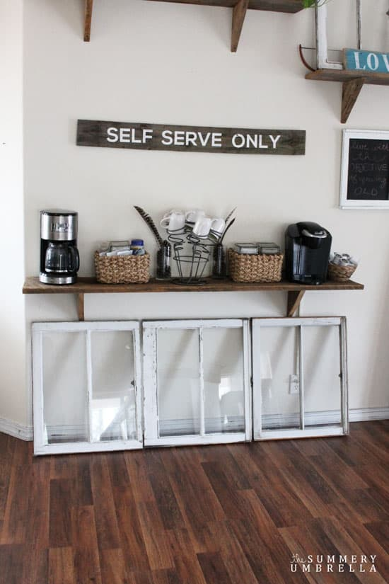how to make a coffee station out of a dresser mirror the