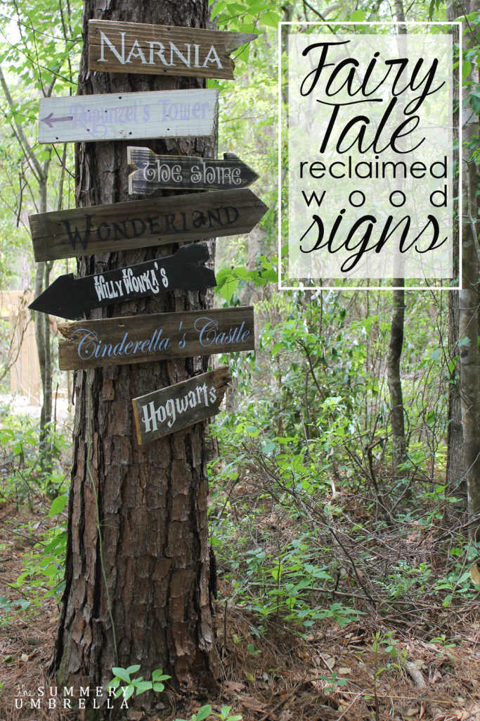 How cute would these fairy tale reclaimed wood signs look in your child's play area? Learn how to make one or all of them today with free movie fonts I found. #kidsbedroom #childrensdecor #thesummeryumbrella