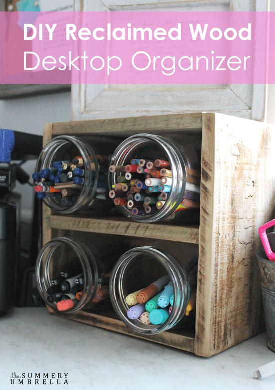 Organizing can sometimes be a little difficult, but with this DIY reclaimed wood desktop organizer it'll definitely assist you accomplish this feat!