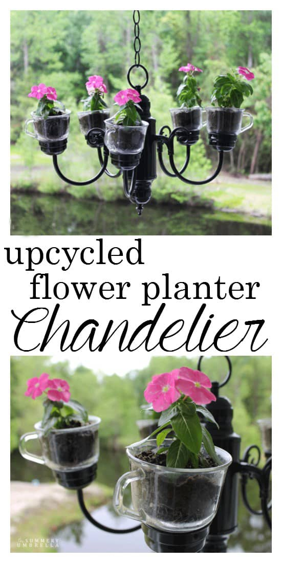 Upcycled flower planter chandelier