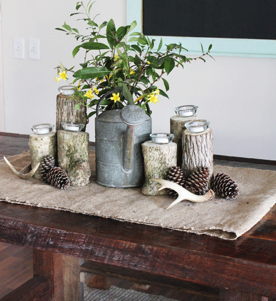 Rustic and Vintage Inspired Spring Table Centerpiece