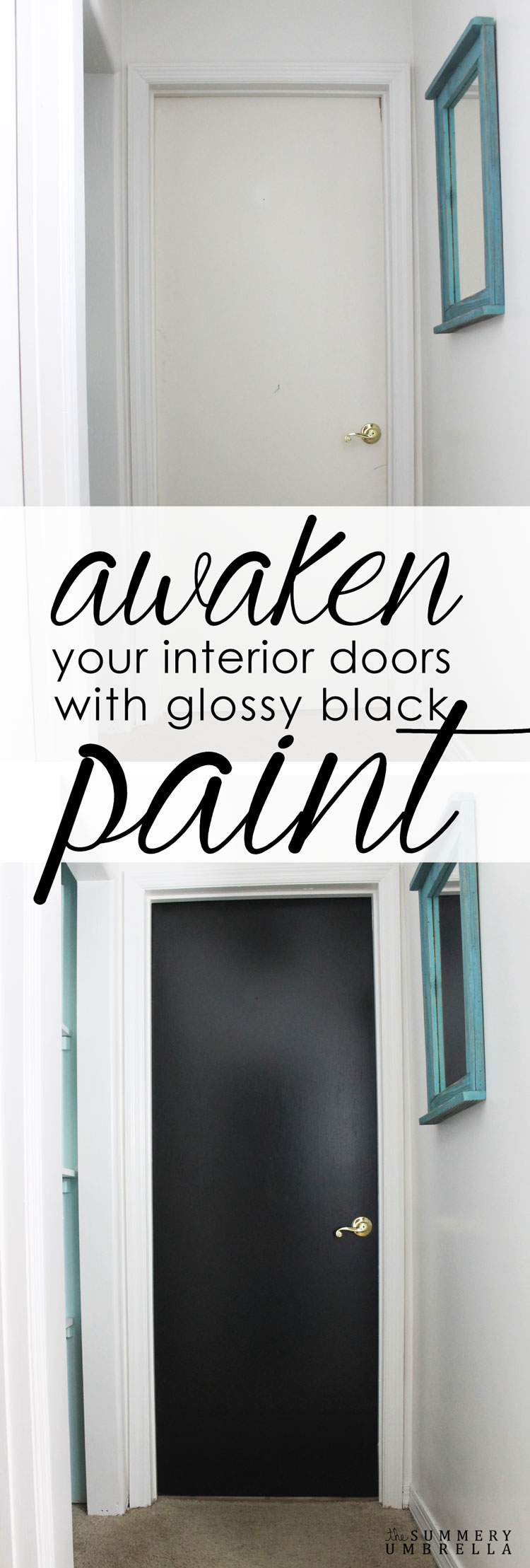 Awaken your boring interior doors with a gorgeous pop of glossy black paint. You will be absolutely amazed how fantastic your new black interior doors look!