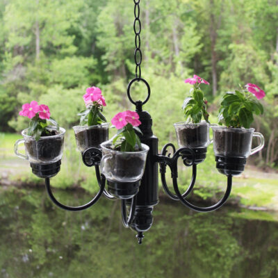 Upcycled Flower Planter Chandelier for Your Outdoor Space