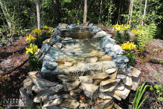 DIY waterfall in a private pond