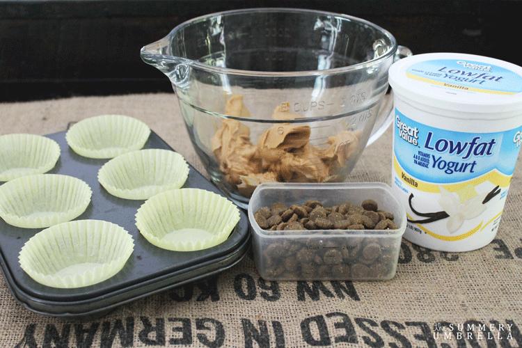 peanut butter, lowfat yogurt, dog food