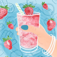 strawberry smoothie illustration