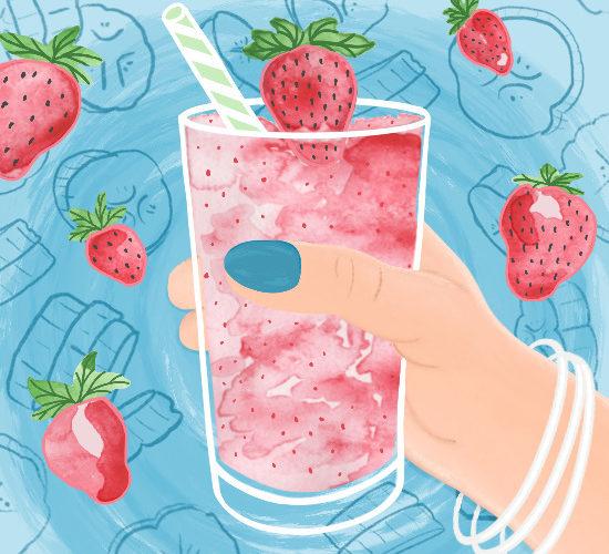 strawberry smoothie illustration