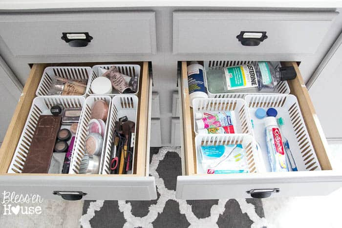 Dollar Store Bathroom Drawer Organization The Summery