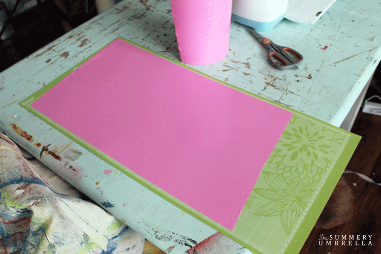Pink vinyl on a cutting mat