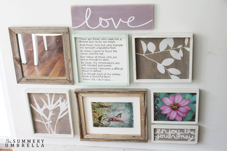A gallery wall with the DIY love wood sign