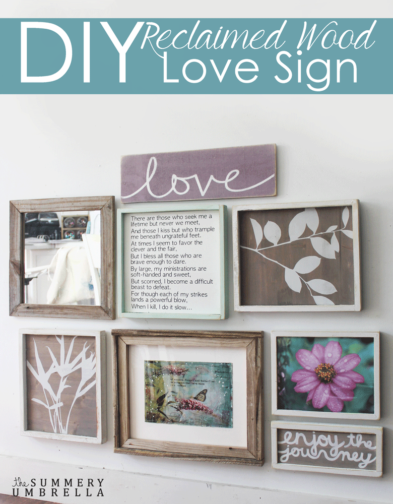 the DIY love wood sign on a Gallery Wall