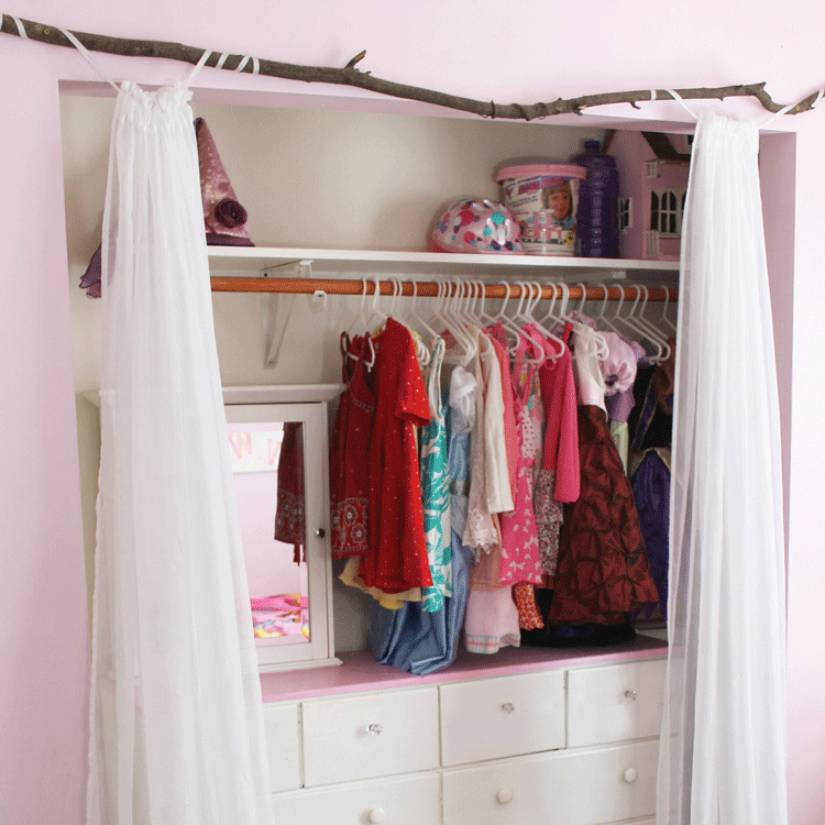 Rustic and Girly Closet Curtain Rod