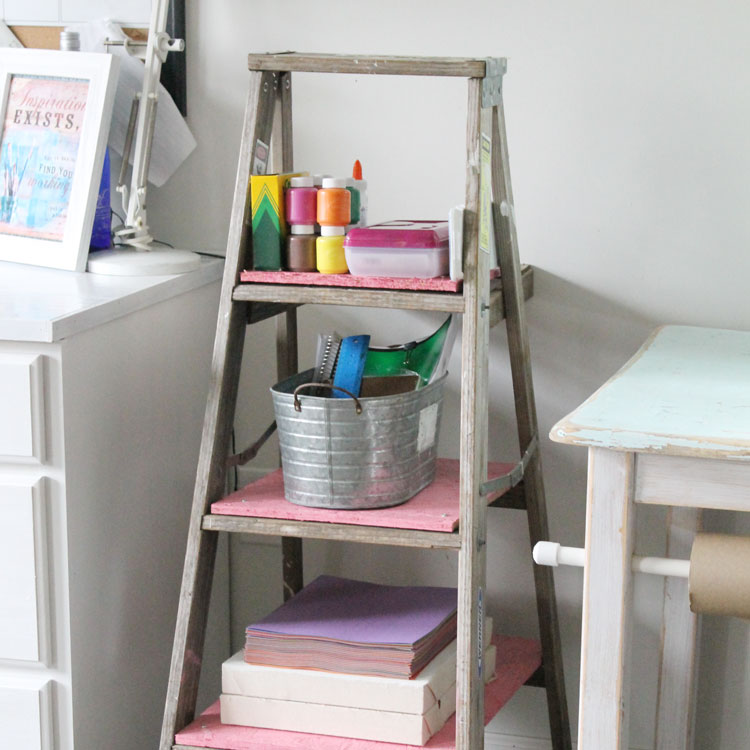 Creating A Place For Your Kids Art Supplies Has Never Been Easier! Check  Out Just How Easy It Is To Make This DIY Kids Storage Ladder Now!
