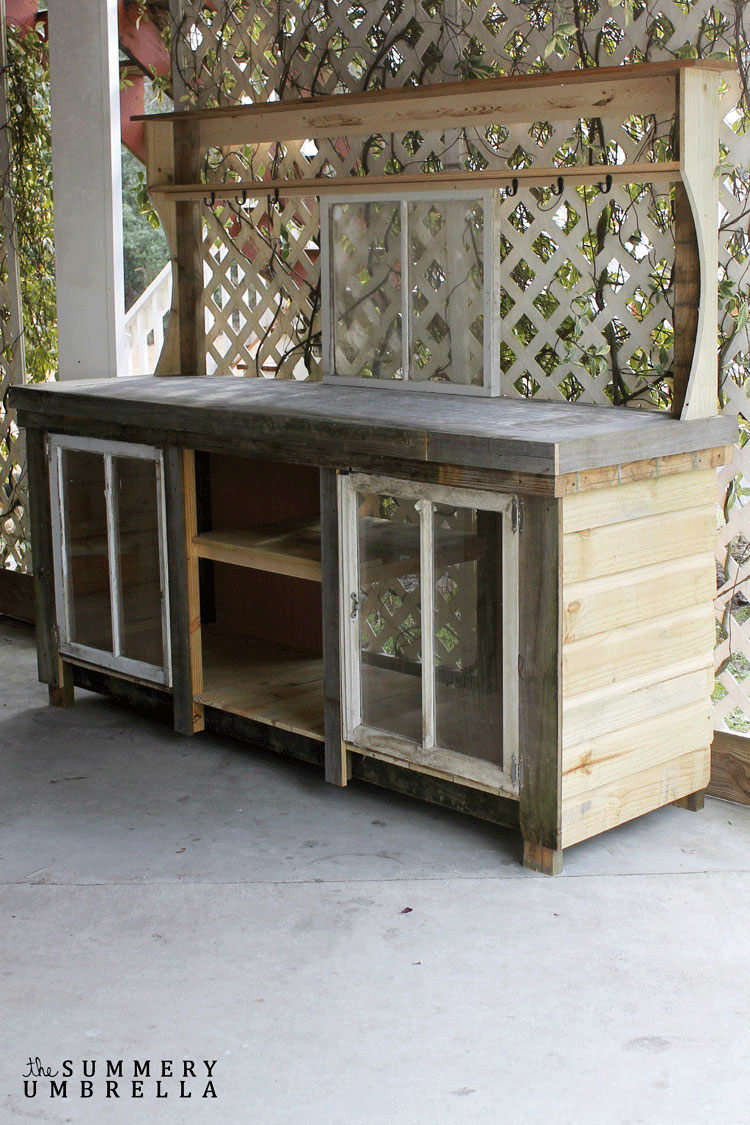 reclaimed wood diy potting bench