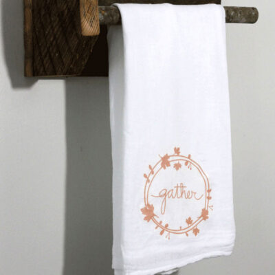 Easy Iron On DIY Gather Tea Towel for Your Fall Kitchen