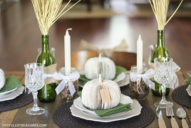 neutral green fall tablescape