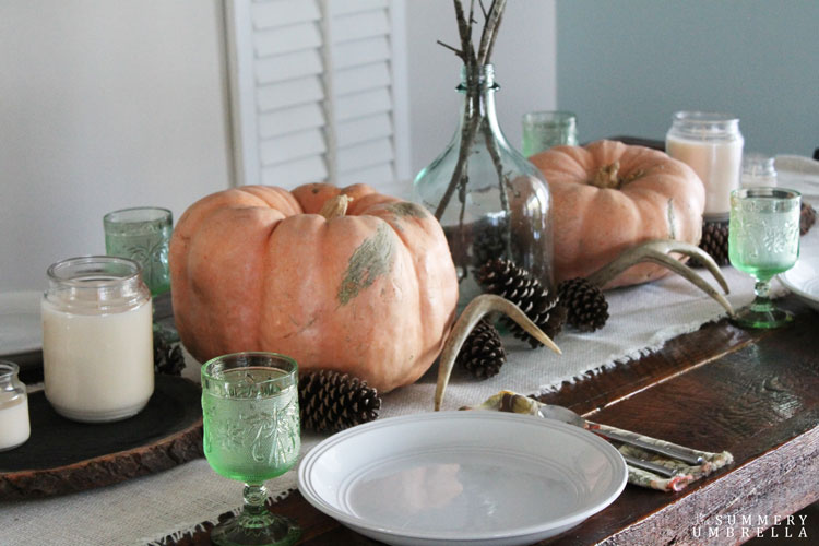 rustic peach and green thanksgiving table ideas