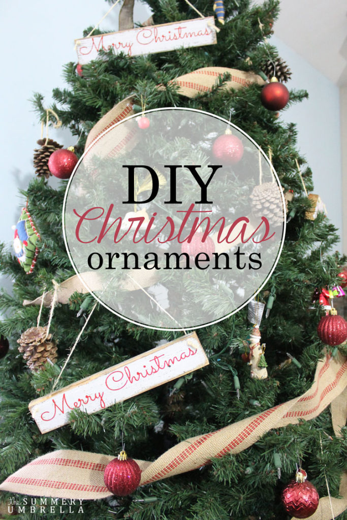 Signs aren't only for your walls. Your Christmas tree needs love too! Try these simple DIY Christmas Ornaments made from small rustic wood signs by The Summery Umbrella now! #christmas #christmasdecorations #thesummeryumbrella