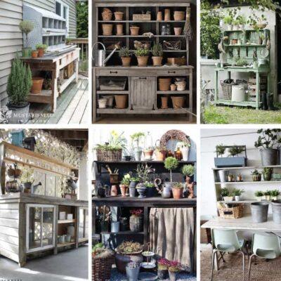 12 Rustic Garden Potting Bench Ideas