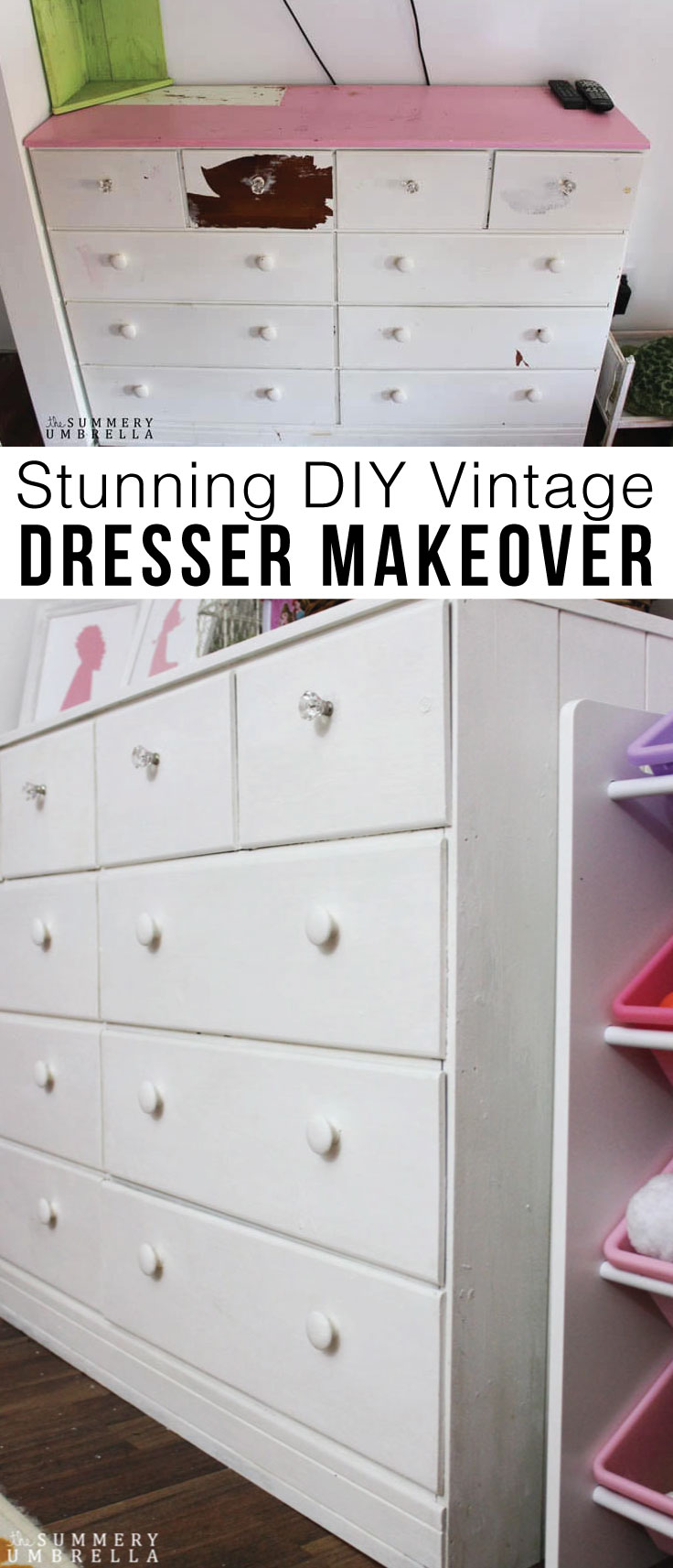 Old dresser makeover Chalk Paint Do You Have Dresser That Desperately Needs Little Tlc Then Youll The Summery Umbrella Stunning Diy Vintage Dresser Makeover Before And After