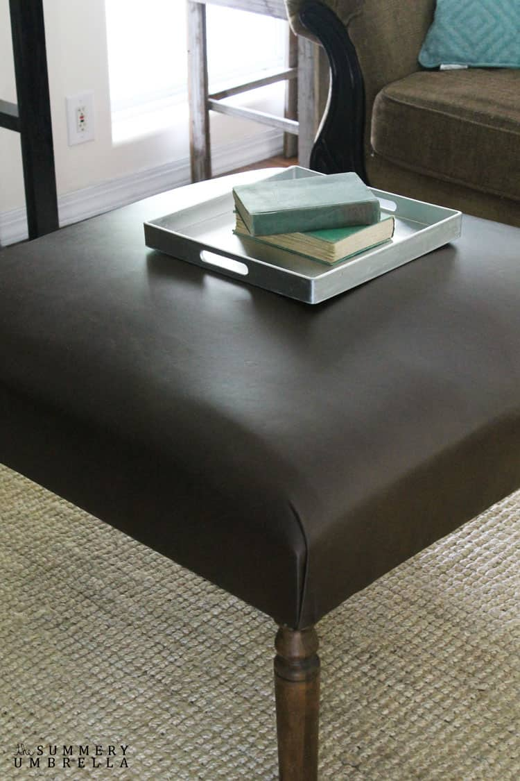 Kickback, relax, and put your feet up on your very own DIY leather ottoman! It's so easy to make you're going to wonder why you haven't tried it before.
