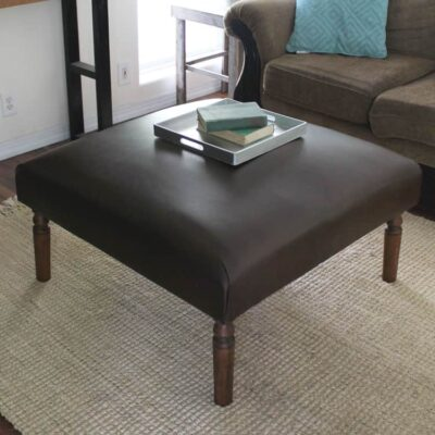 Our DIY Leather Ottoman for Large Spaces