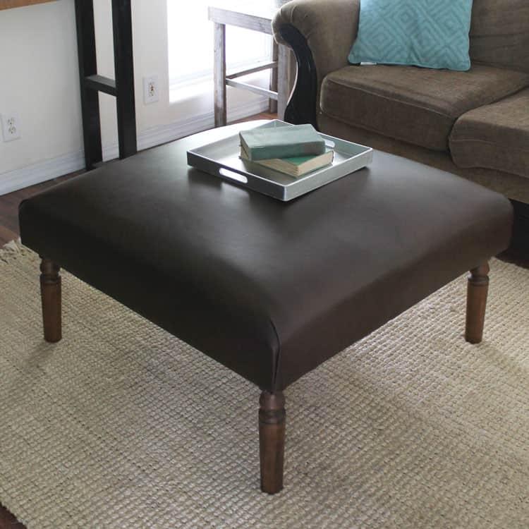 DIY Leather Ottoman
