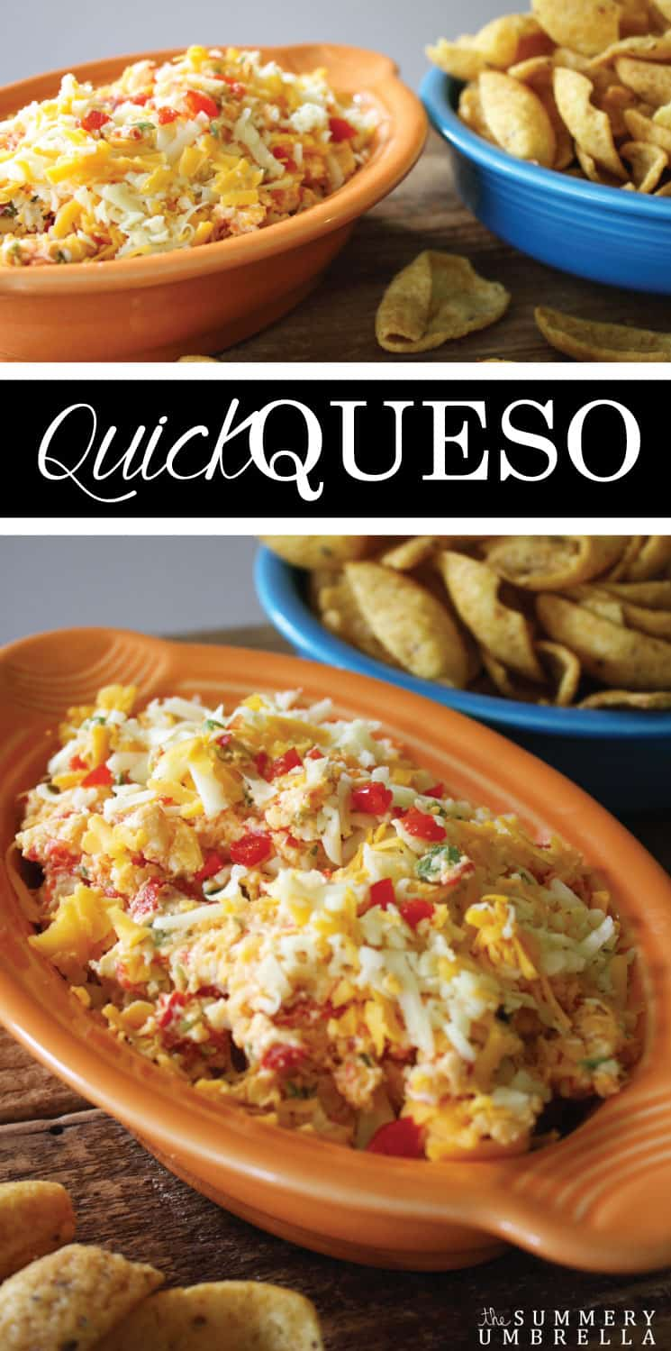 This is by far the easiest recipe ever! This quick queso dip is not only delicious, but also a sure crowd pleaser as well. MUST SEE!