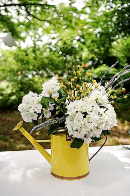 vintage water can centerpiece