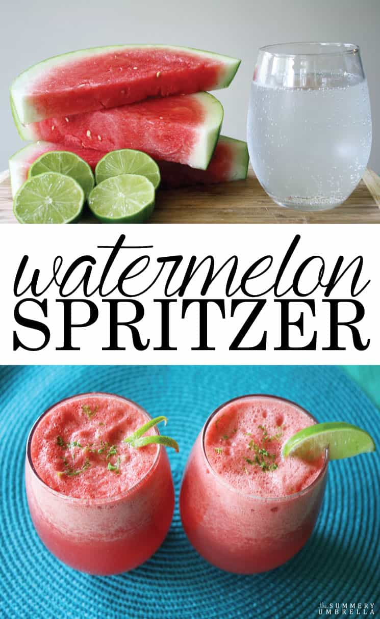 This Watermelon Spritzer is super simple, and extremely versatile! Add an adult beverage to it for a little bit of kick for a upcoming party. Yummy!