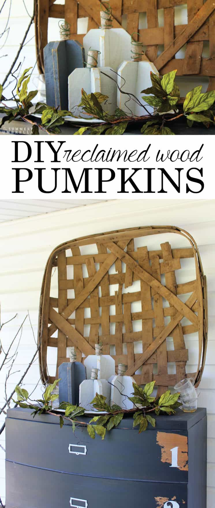 All you need is a few scraps of wood, a branch, wire, and paint to create these super versatile DIY reclaimed wood pumpkins. So easy and pretty too!
