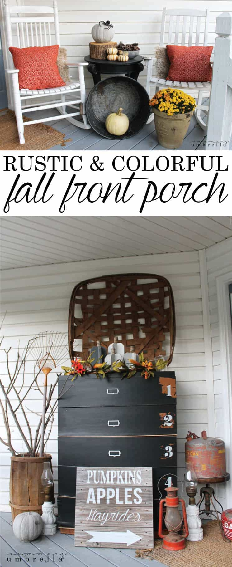 I love combining rustic & vintage gorgeous pieces with colorful modern elements into all of my decor. This fall front porch is no different. MUST PIN!