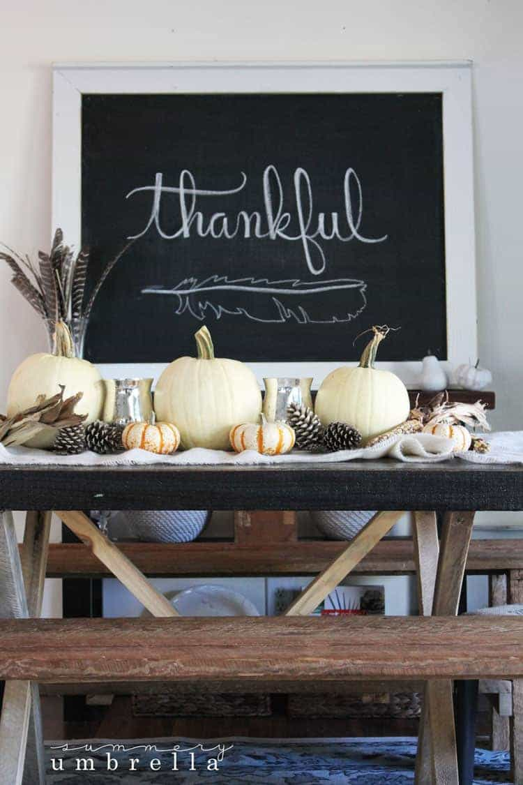 This simple and rustic fall table not only is super easy to create, but also incredibly cost efficient as well! Can we say win-win? Definitely a must try!