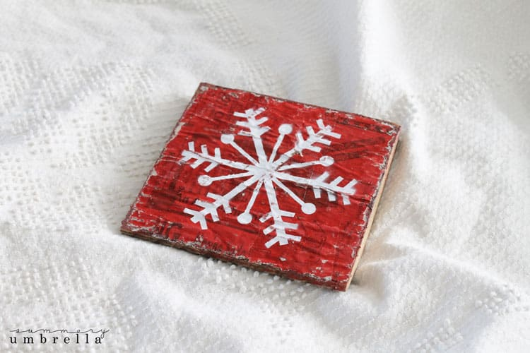 DIY red snowflake sign