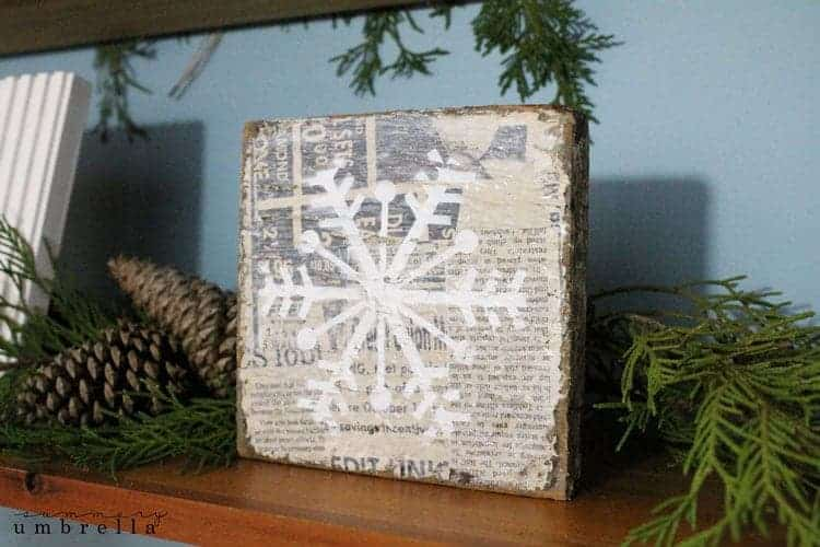 Vintage Inspired Mod Podge Snowflake Plaque