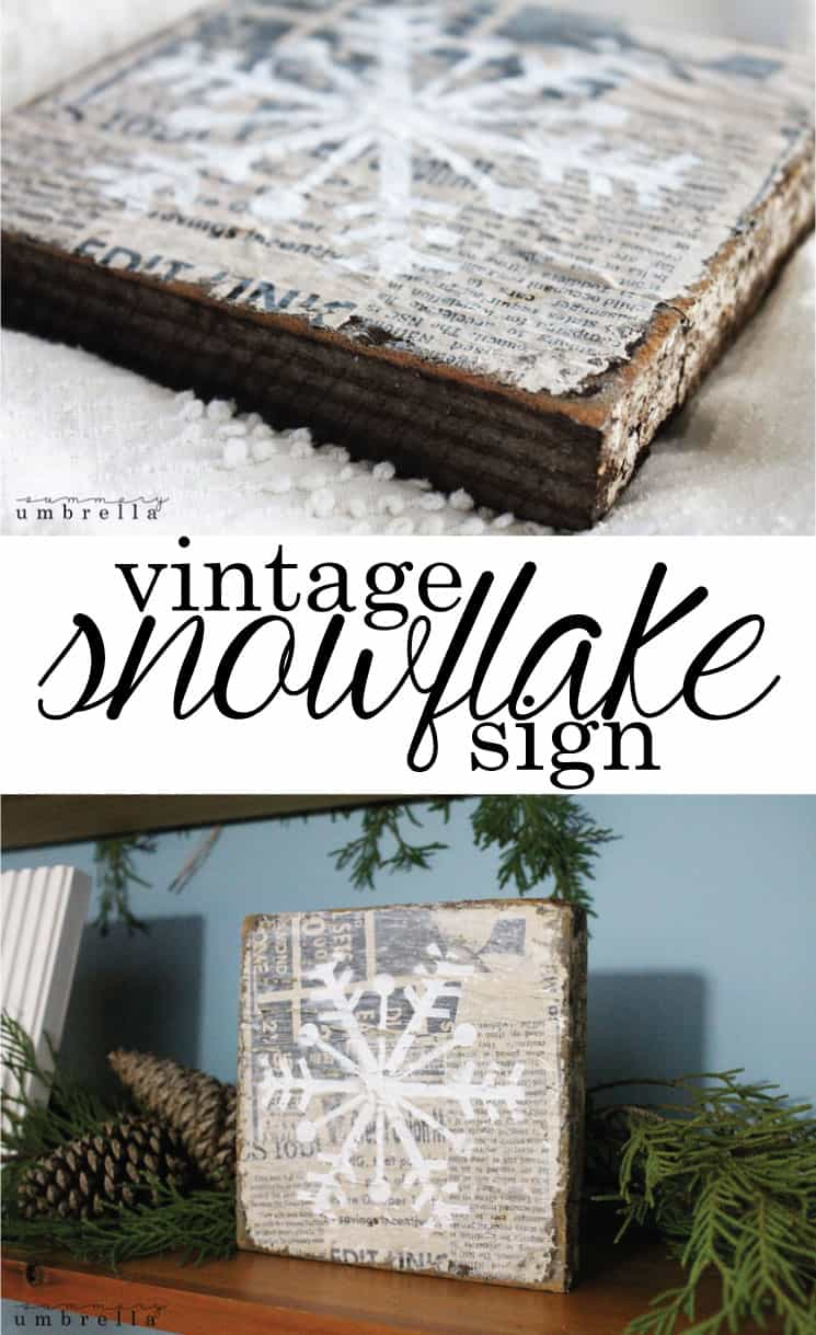 This DIY vintage snowflake sign is not ONLY gorgeous, but super simple as well. It includes easy to find supplies, a FREE snowflake stencil, AND a video!