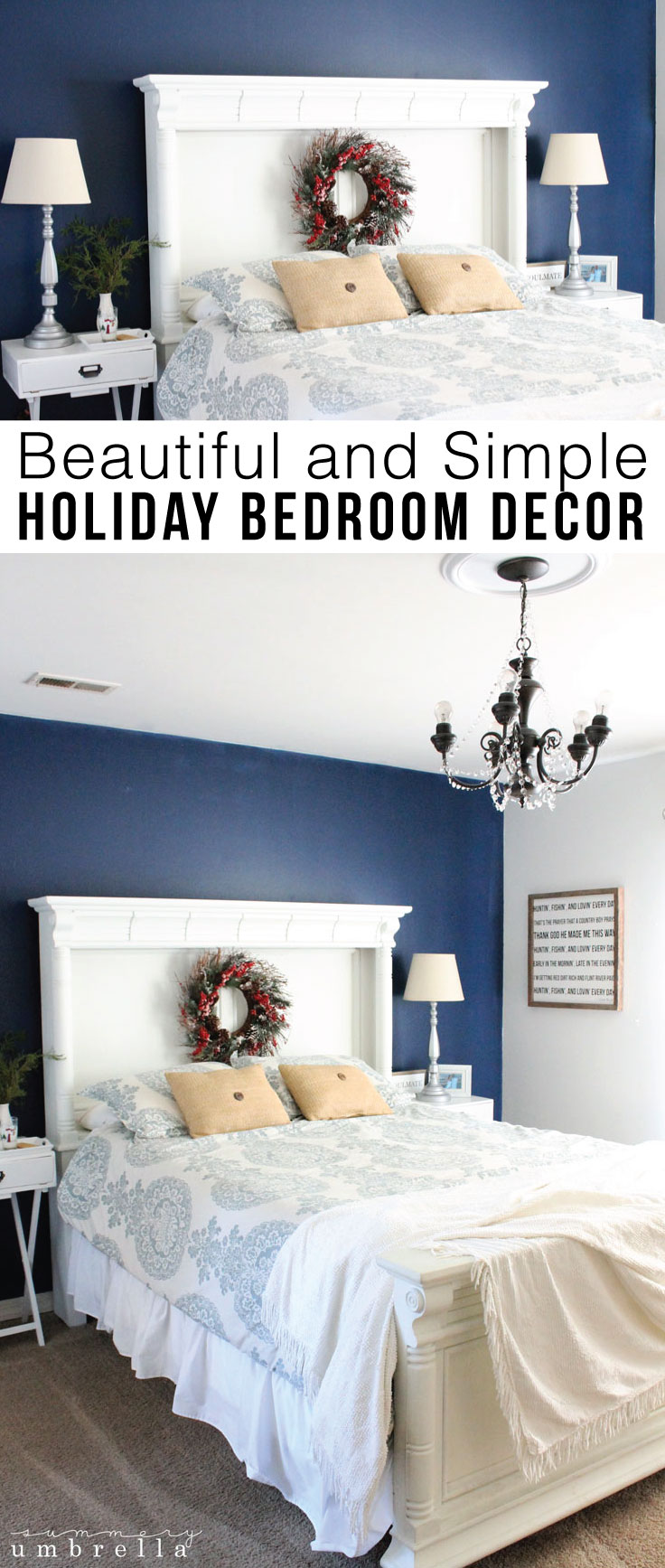 You don't need a lot of supplies to create a beautiful and festive bedroom. For instance, my simple holiday bedroom decor today on the blog is so easy!