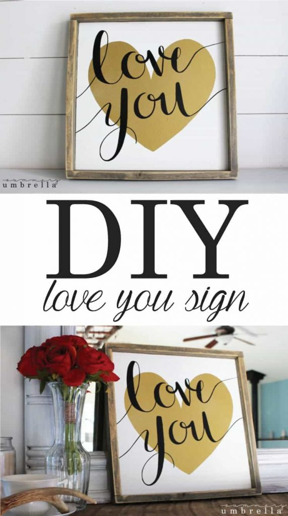 Looking for an easy Valentine's Day project for your home decor? Try this DIY Love You Sign that is great for the upcoming holiday and all year round too!