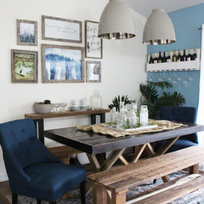 Vintage and Rustic Inspired Navy Blue Dining Room Update