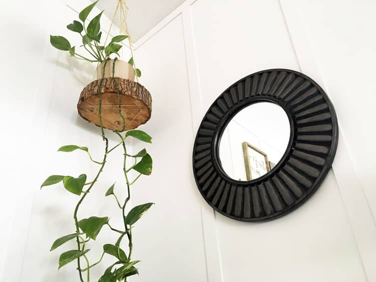 Easy DIY Hanging Planter Using a Wood Slice and Rope
