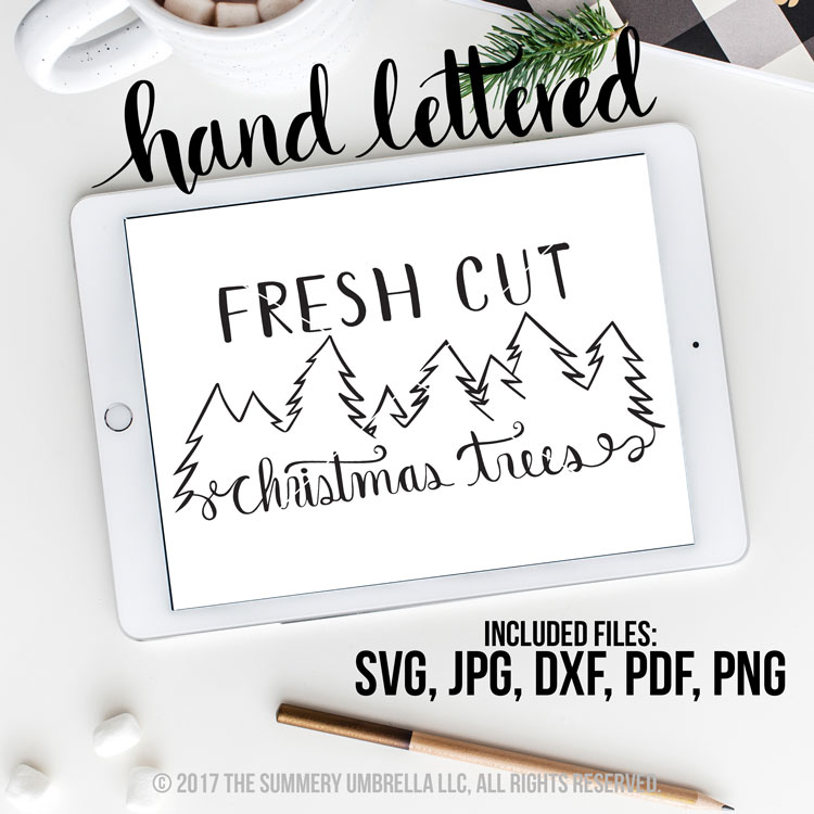 fresh cut christmas trees svg