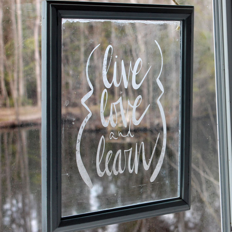diy glass etched sign