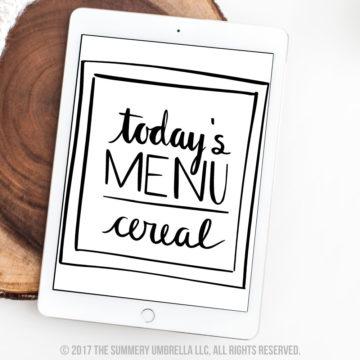 todays menu printable