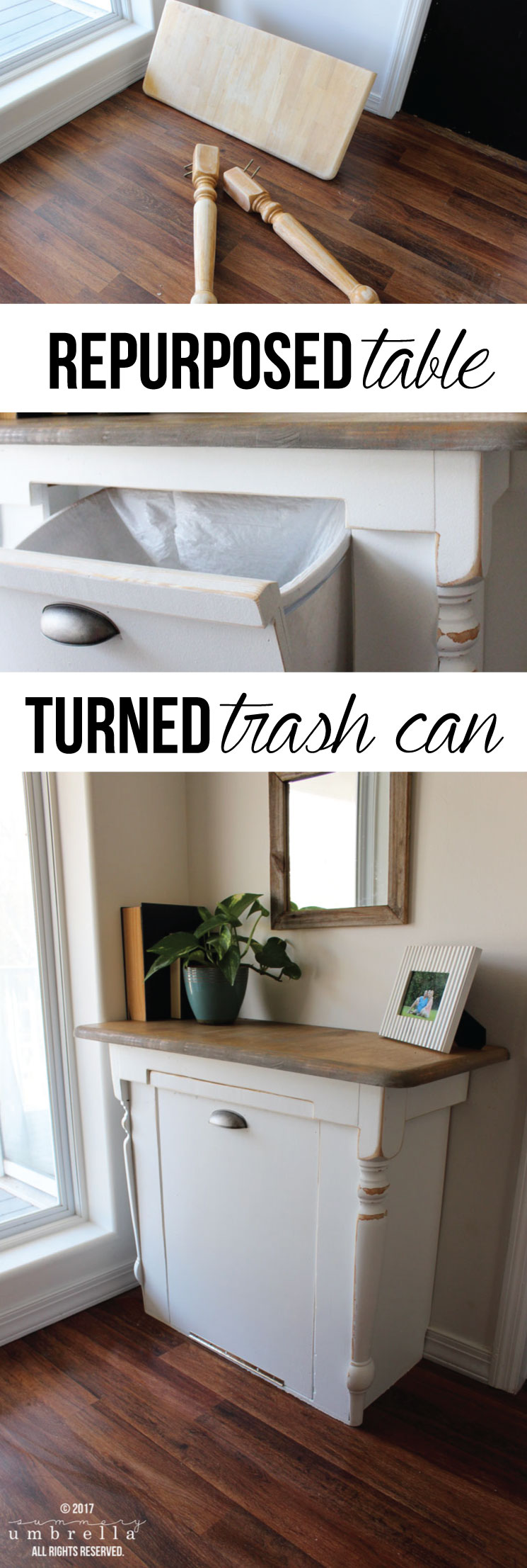 Ever wondered what you could do with that old table you have lying around? Well, you could give it a makeover and turn it into a DIY wood tilt out trash can for your kitchen! #furniture #furnituremakeover #TheSummeryUmbrella #LZCathcart