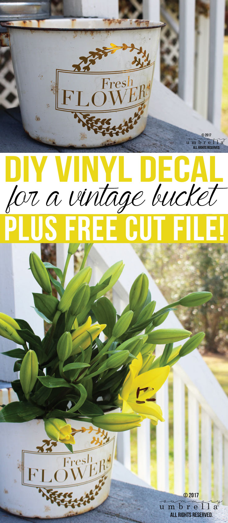 This DIY Vinyl Decal for a Vintage Bucket tutorial is so easy you're going to want to make one for all your friends & family! Plus, a free SVG Cut File too! It's so easy you'll have a DIY flower pot in no time at all. #svgfiles #silhouette #thesummeryumbrella