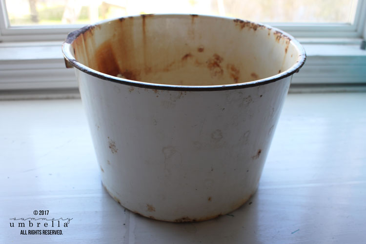 rustic bucket for flowers