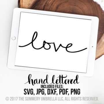 hand lettered love svg