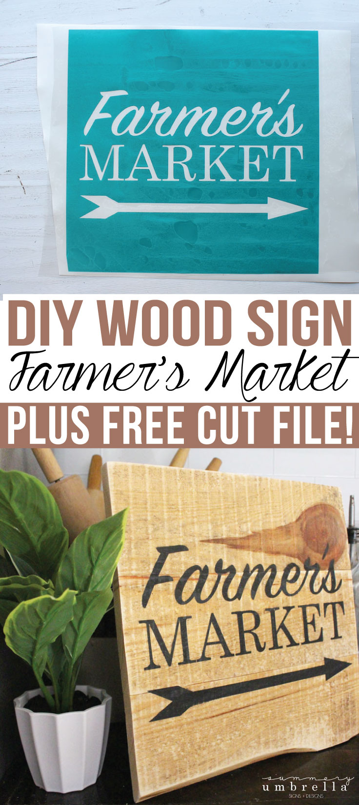 Create this super, easy DIY Farmers Market Wood Sign with just a few simple supplies. PLUS, it comes with a FREE SVG Cut File just for you!